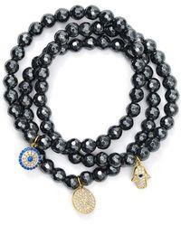 Aqua - Beaded Bracelets In Gold Tone - Plated Sterling Silver And Hematite Tone - Plated Sterling Silver - Lyst