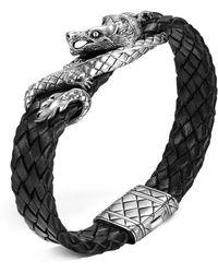 John Hardy - Men's Naga Sterling Silver Dragon Woven Black Leather Bracelet - Lyst