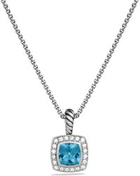 Womens david yurman necklaces from 325 david yurman petite albion pendant with blue topaz and diamonds on chain lyst aloadofball Gallery
