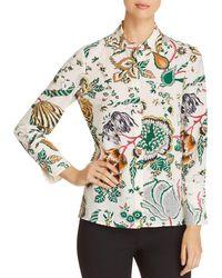 Tory Burch - Erica Printed Silk Button-down Top - Lyst