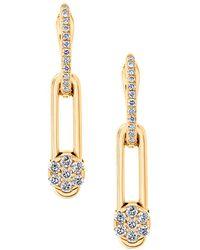 Hulchi Belluni - 18k Yellow Gold Diamond Tresore Single Linear Earrings - Lyst