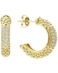 Lagos - 18k Yellow Gold Caviar Gold Pavé Diamond Hoop Earrings - Lyst