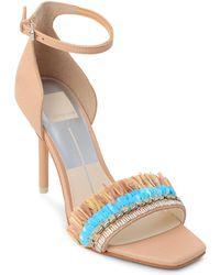 Dolce Vita - Women's Hyper Suede & Embellished Raffia High Heel Sandals - Lyst