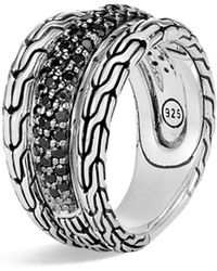 John Hardy Classic Chain Sterling Silver, Black Sapphire & Black Spinel Ring