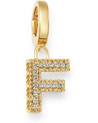 Roberto Coin - 18k Yellow Gold Diamond Initial Charm - Lyst