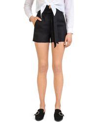 The Kooples - Self-tie Linen Mini Shorts - Lyst