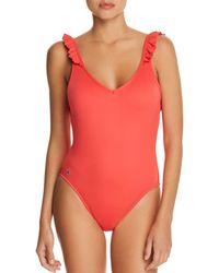 Ralph Lauren - Polo Modern Solids Ruffle Back One Piece Swimsuit - Lyst