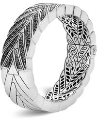 John Hardy | Sterling Silver Modern Chain Large Hinged Bangle With Black Sapphire | Lyst