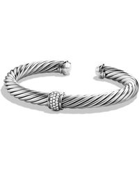 David Yurman - Cable Classics Bracelet With Diamonds & White Gold - Lyst