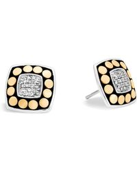 John Hardy - 18k Yellow Gold And Sterling Silver Dot Stud Earrings With Diamonds - Lyst