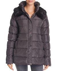 Via Spiga - Ruched Stand Collar Puffer Coat - Lyst
