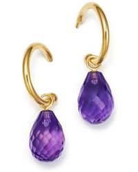 Bloomingdale's - Amethyst Briolette Hoop Drop Earrings In 14k Yellow Gold - Lyst