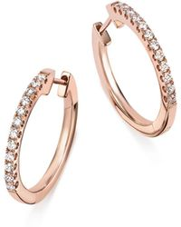 Bloomingdale's - Diamond Hoop Earrings In 14k Rose Gold - Lyst