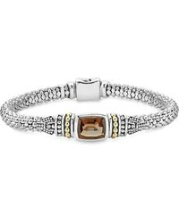 Lagos - 18k Gold And Sterling Silver Caviar Colour Bracelet With Smoky Quartz - Lyst