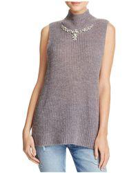 French Connection - Mathilde Embellished Split-back Sweater Vest - Lyst