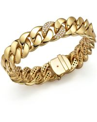 Roberto Coin - 18k Yellow Gold Link Bracelet With Diamonds - Lyst