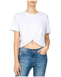 The Kooples - Cropped Knotted Tee - Lyst