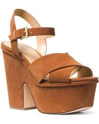 MICHAEL Michael Kors - Women's Divia Open-toe Platform Suede Wedge Heel Sandals - Lyst