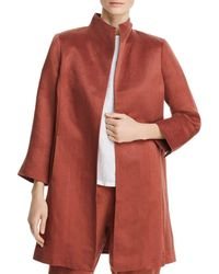 Eileen Fisher - Stand Collar Coat - Lyst