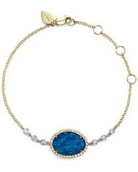 Meira T - 14k Yellow Gold And White Gold Opal Bracelet With Diamonds - Lyst