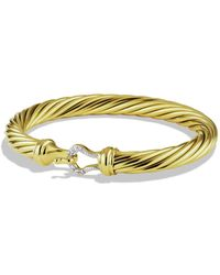 David Yurman - Cable Buckle Bracelet With Diamonds And Gold - Lyst