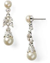 Carolee - Linear Pearl Teardrop Earrings - Lyst