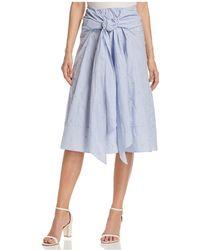Badgley Mischka - Pinstripe Tie-front Skirt - Lyst