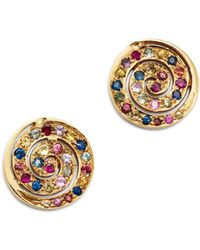 Shebee - 14k Yellow Gold Multicolor Sapphire Spiral Drop Earrings - Lyst