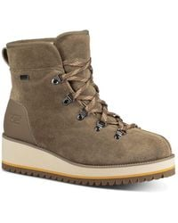 7561a0a770d Lyst - Ugg Janney Leather And Sheepskin Lace Up Wedge Booties in Brown