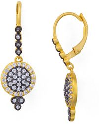 Freida Rothman - Mini Pavé Leverback Earrings - Lyst