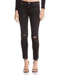Aqua - Studded-hem Distressed Skinny Jeans In Charcoal Wash - Lyst