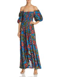 Band Of Gypsies - Heirloom Blossom Off-the-shoulder Printed Maxi Dress - Lyst