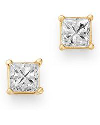 Bloomingdale's - Diamond Princess - Cut Solitaire Stud Earrings In 14k Yellow Gold - Lyst