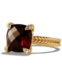 David Yurman | Châtelaine Ring With Garnet And Diamonds In 18k Gold | Lyst