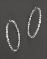 Roberto Coin - 18k White Gold Large Diamond Inside Out Hoop Earrings - Lyst