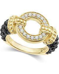 Lagos - Circle Game Black Caviar Ceramic Ring With Diamonds And 18k Gold - Lyst