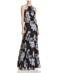 Betsy & Adam - Floral Pleated Chiffon Gown - Lyst
