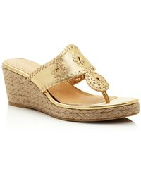 a650a019e Lyst - Jack Rogers Chrystie Cork   Metallic Leather Wedge Sandals in ...