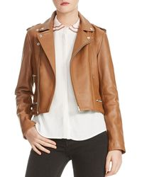 Maje - Basalt Leather Motorcycle Jacket - Lyst