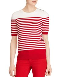 Ralph Lauren - Lauren Striped Button-shoulder Sweater - Lyst