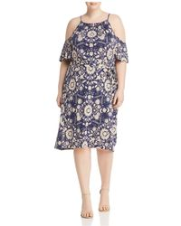 Lucky Brand - Cold-shoulder Floral-print Dress - Lyst