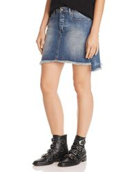 Aqua - Zadig & Voltaire X Frayed Denim Mini Skirt - Lyst