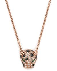 "Bloomingdale's - Diamond And Tsavorite Jaguar Pendant Necklace In 14k Rose Gold, 18"" - Lyst"