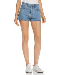 Current/Elliott - The Ultra High-waist Raw-edge Denim Shorts In Prep - Lyst