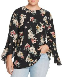 Vince Camuto Signature - Floral Bell-sleeve Top - Lyst