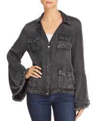 Chaser - Frayed Bell Sleeve Jacket - Lyst