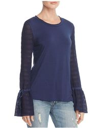 Ella Moss | Crocheted-sleeve Flared-cuff Top | Lyst