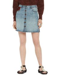 Scotch & Soda - Button-front Denim Skirt - Lyst