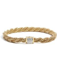 John Hardy | Women's 18k Gold Classic Chain Diamond Pavé Flat Twisted Chain Bracelet | Lyst