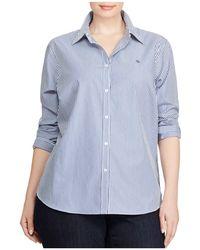 Ralph Lauren | Lauren Plus Pinstriped No-iron Shirt | Lyst